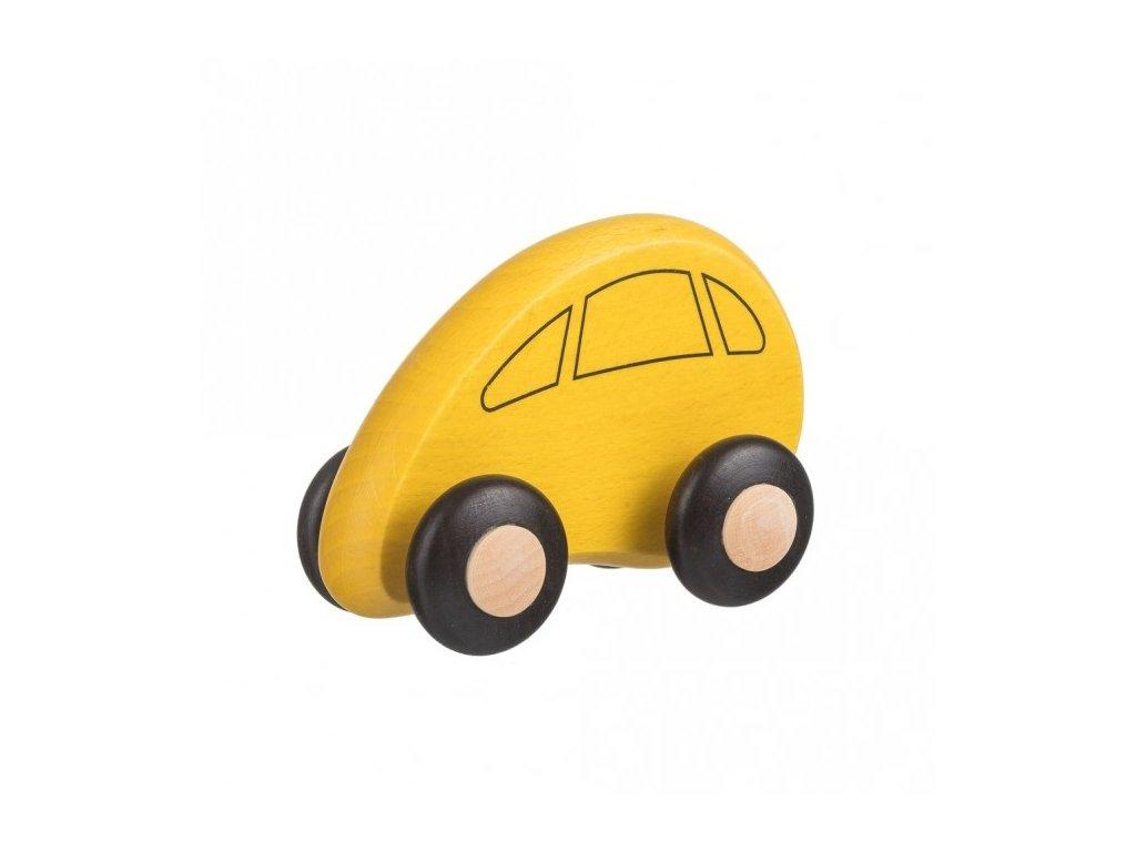 Drevené autíčko žlté