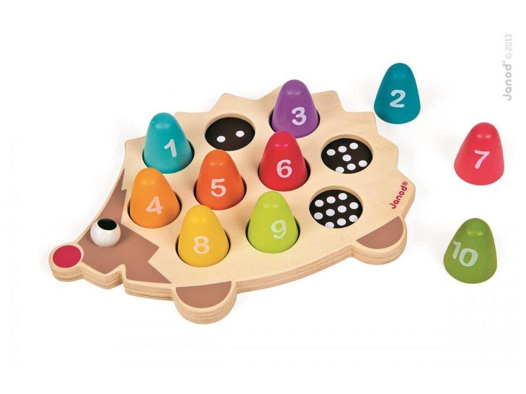 Drevená hračka na vkladanie čísla a farby - ježko