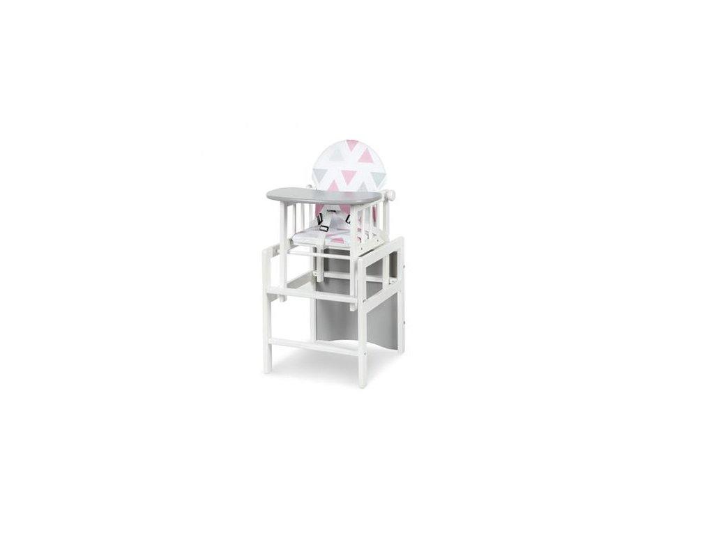 Jedálenská stolička borovica De luxe biela