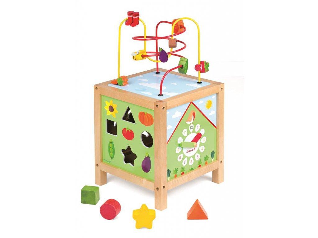 Drevená didaktická kocka - záhrada s labyrintom a aktivitami