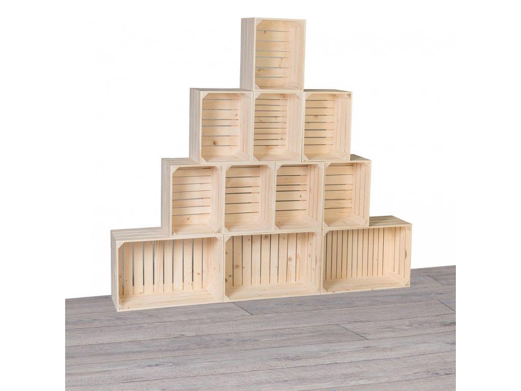 Drevené debničky knižnica 180x160x24 cm