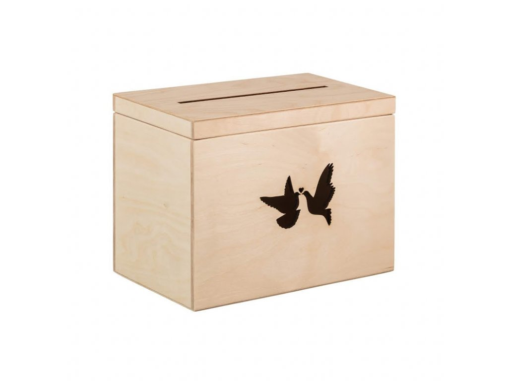 Drevený svatobný box holubice
