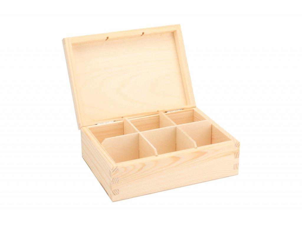 Drevená krabička na čaj (6 priehradiek)