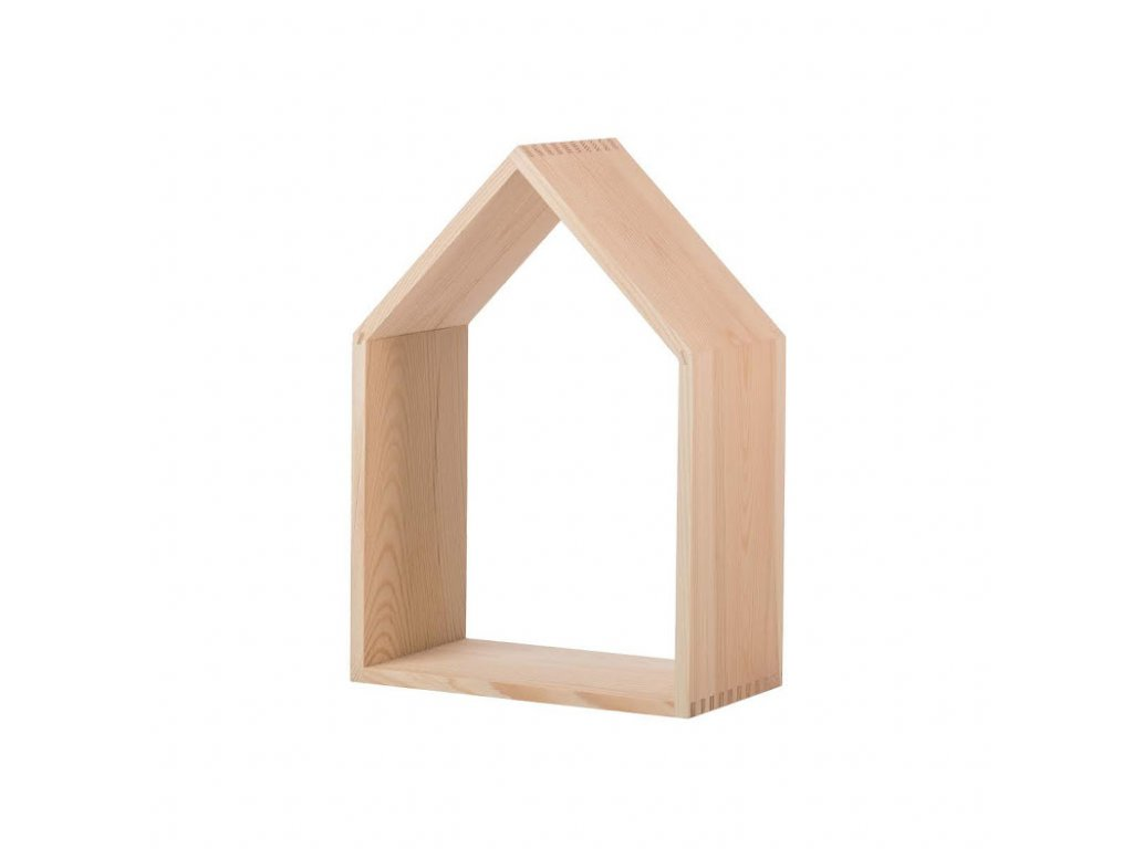 Drevená polička domček otvorená - veľká