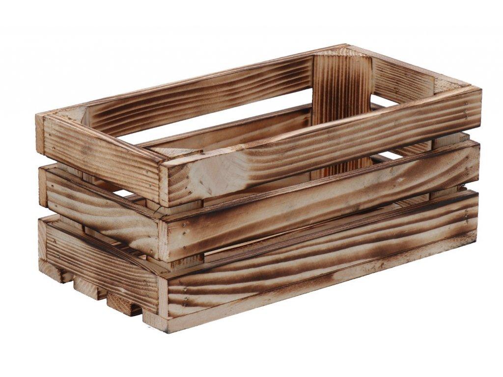 Opálená drevená debnička 28x15x12 cm II