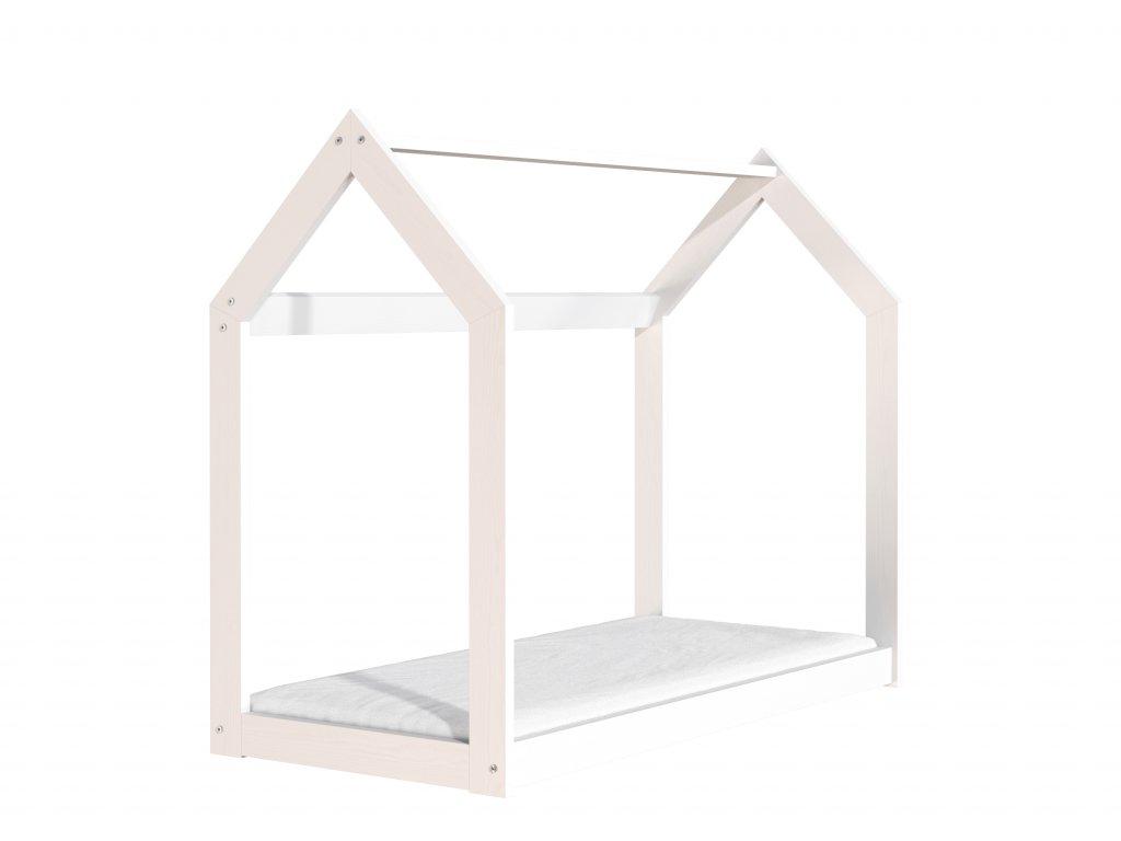 Drevená posteľ domček 160 x 80 cm biela + rošt