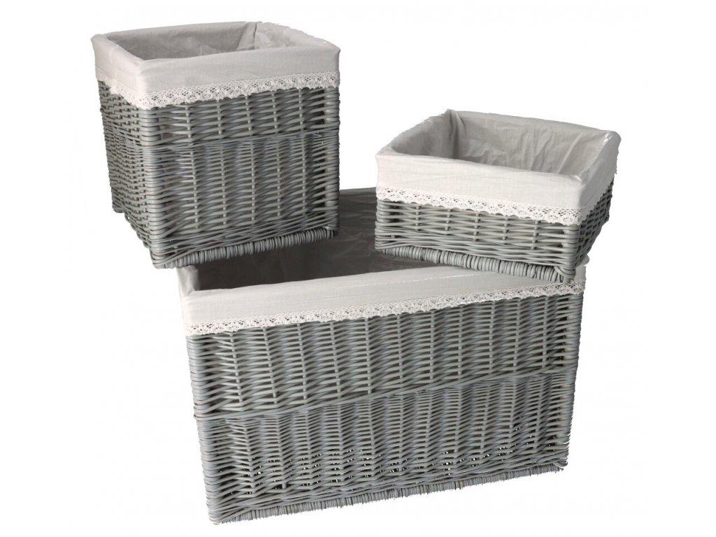 Prútené zásuvky šedé s látkou - trojdielna súprava