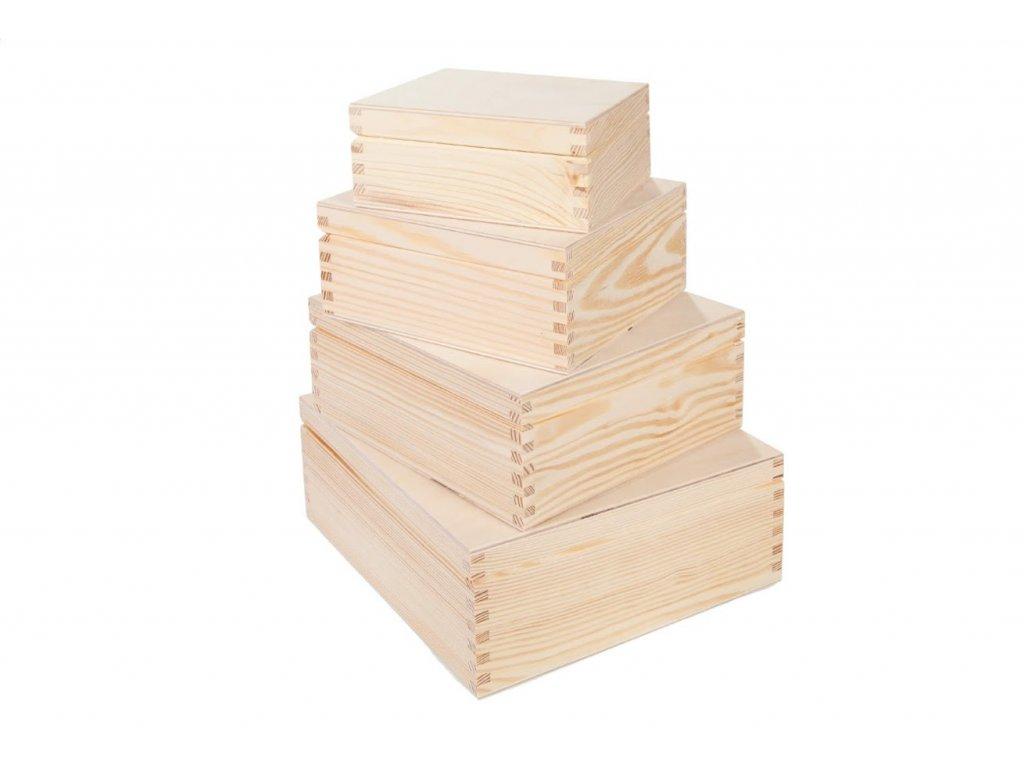 Drevené krabičky - set 4ks