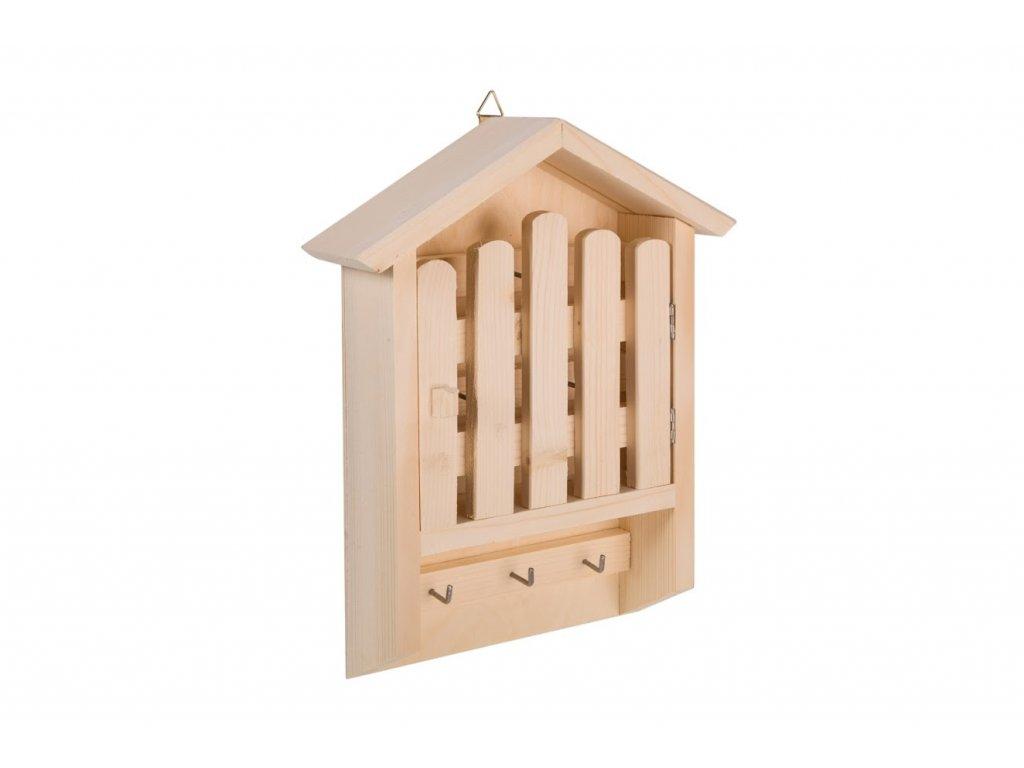 Drevený vešiak na kľúče - domček s plotom