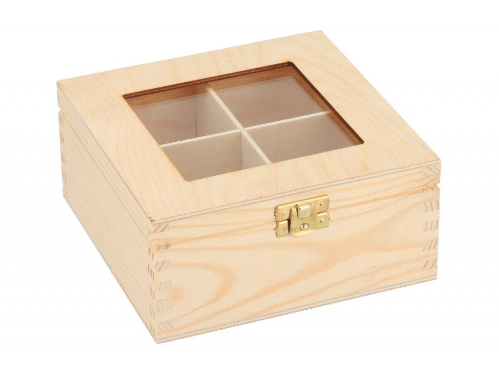 Drevená krabička s plexisklom - 4 priehradky