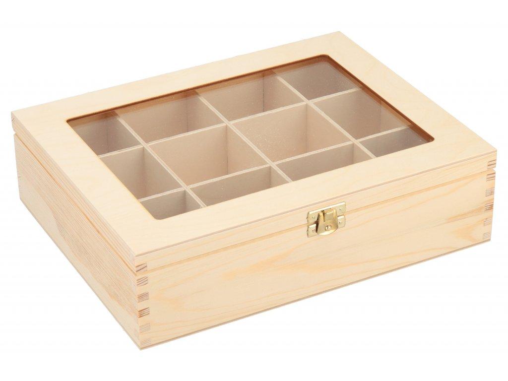 Drevená krabička s plexisklom - 12 priehradiek