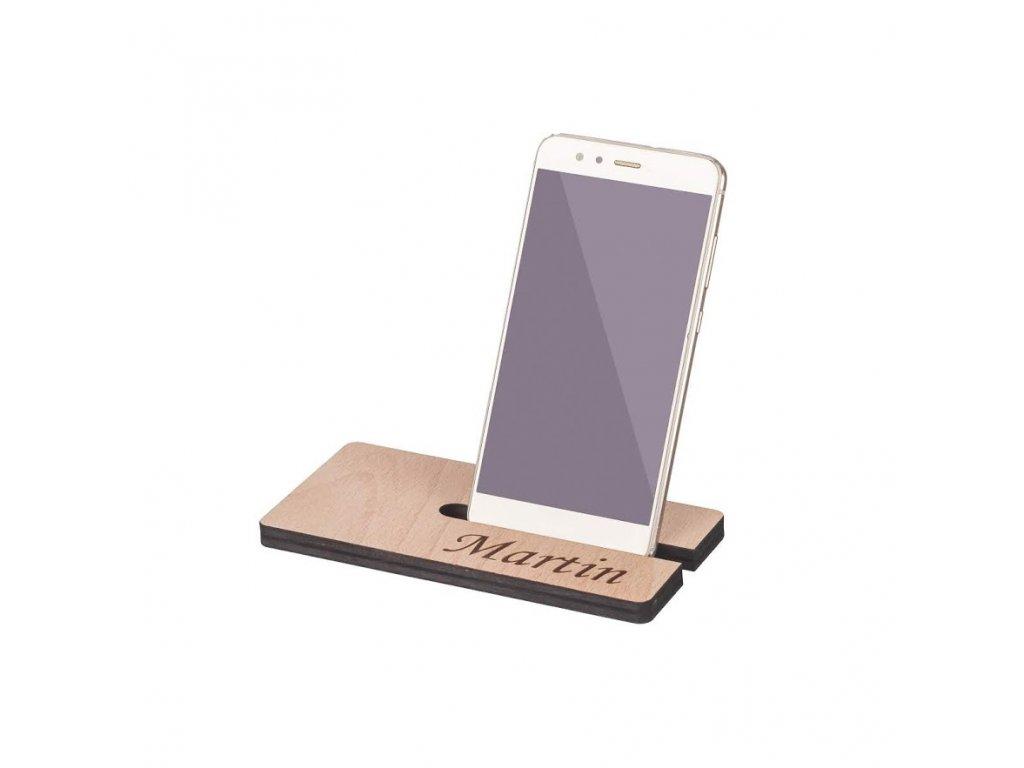 Drevený stojan na mobil s menom