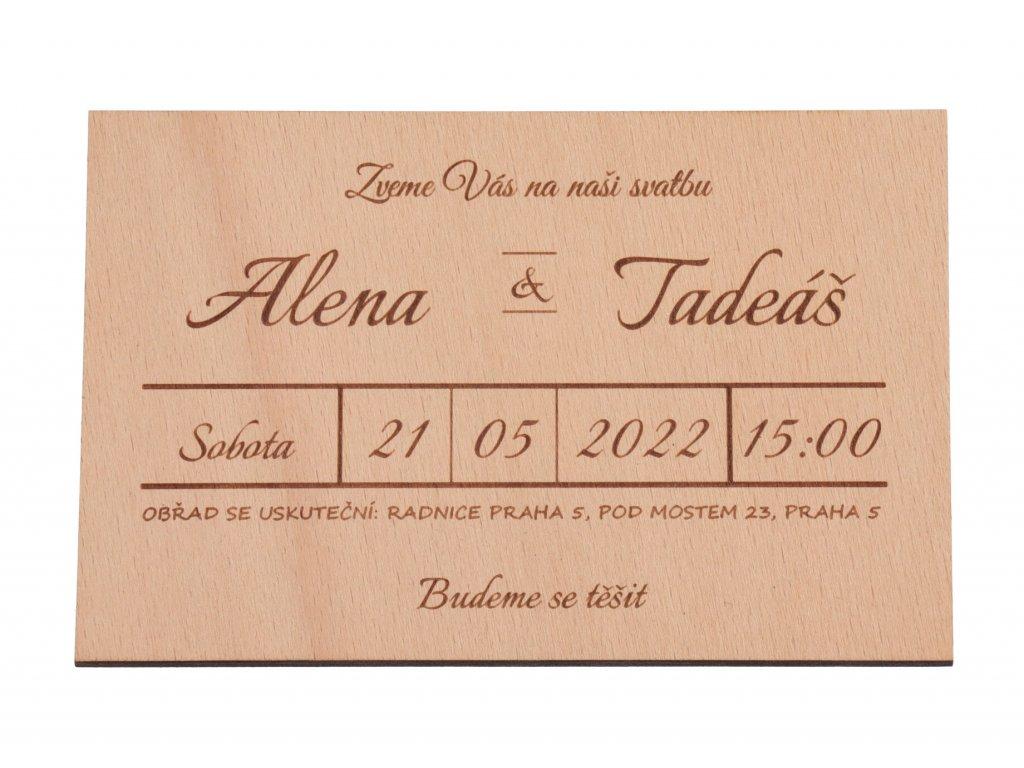 Drevená svatobná pozvánka premium