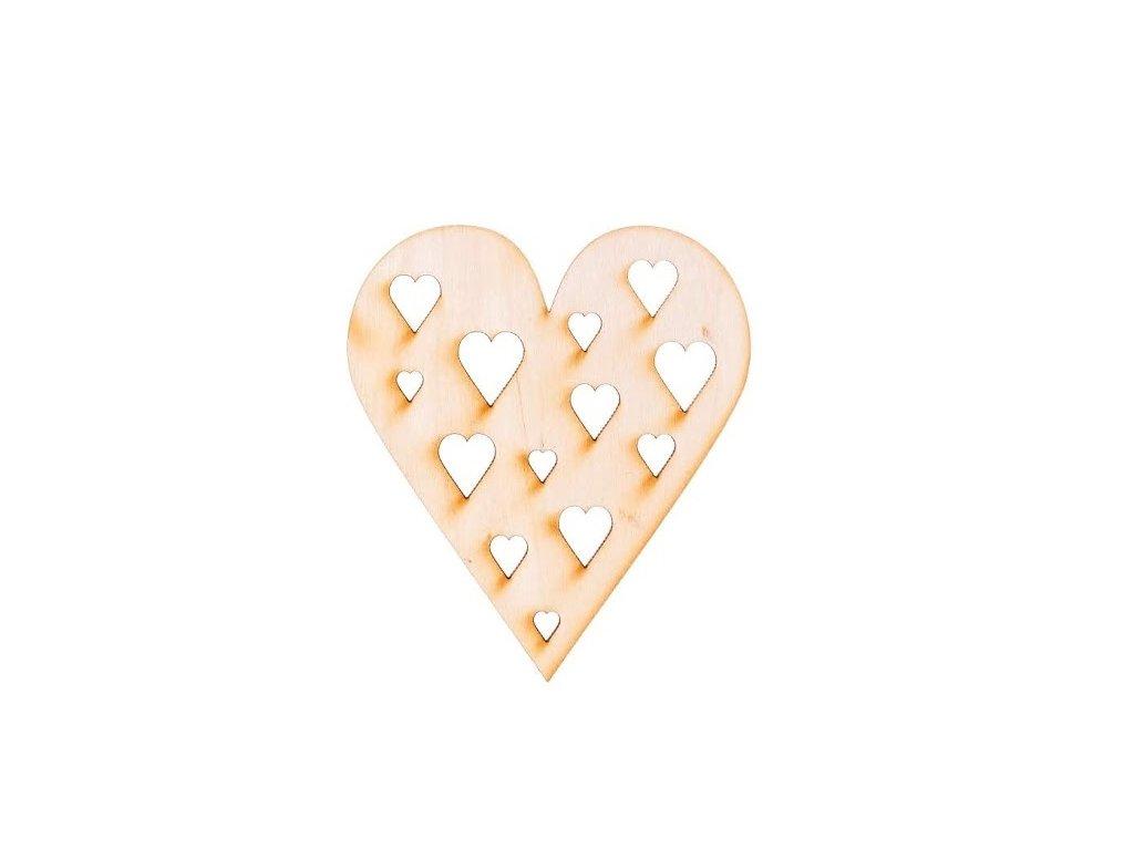Drevené srdce s vyrezanými srdcami 10 x 8,5 cm