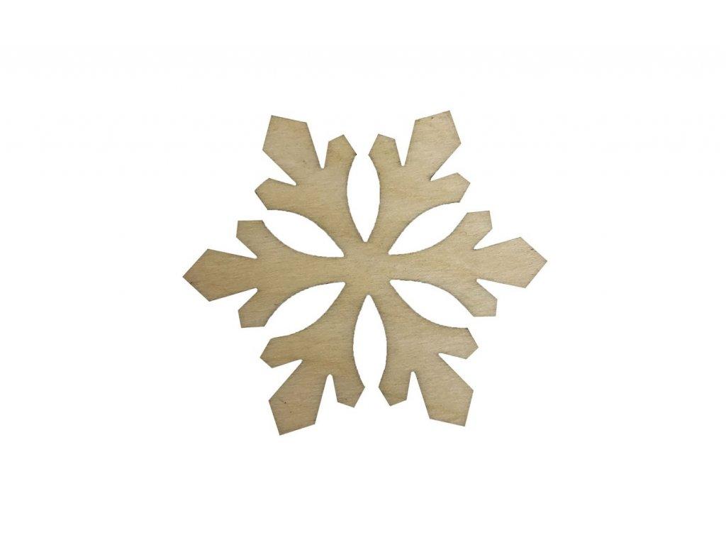 Drevená vianočná vločka IV 6 x 5 cm
