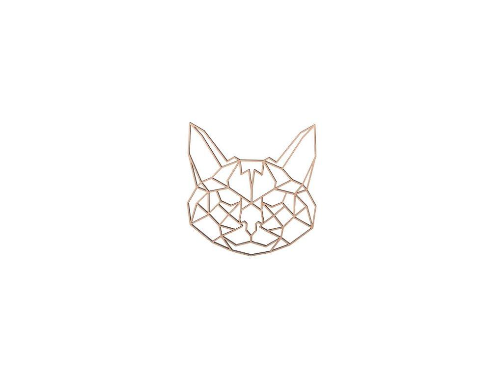 Drevený geometrický obraz - mačka