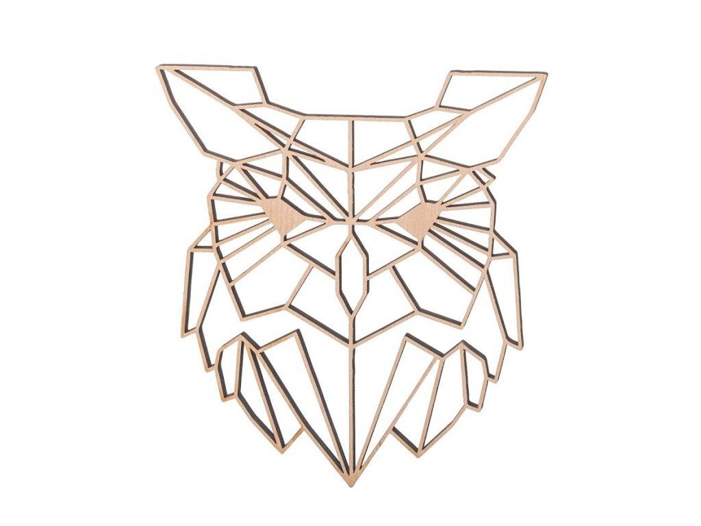 Drevený geometrický obraz - sova