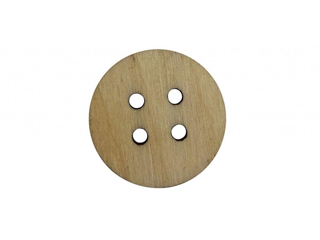Drevený guľatý gombík so štyrmi dierkami