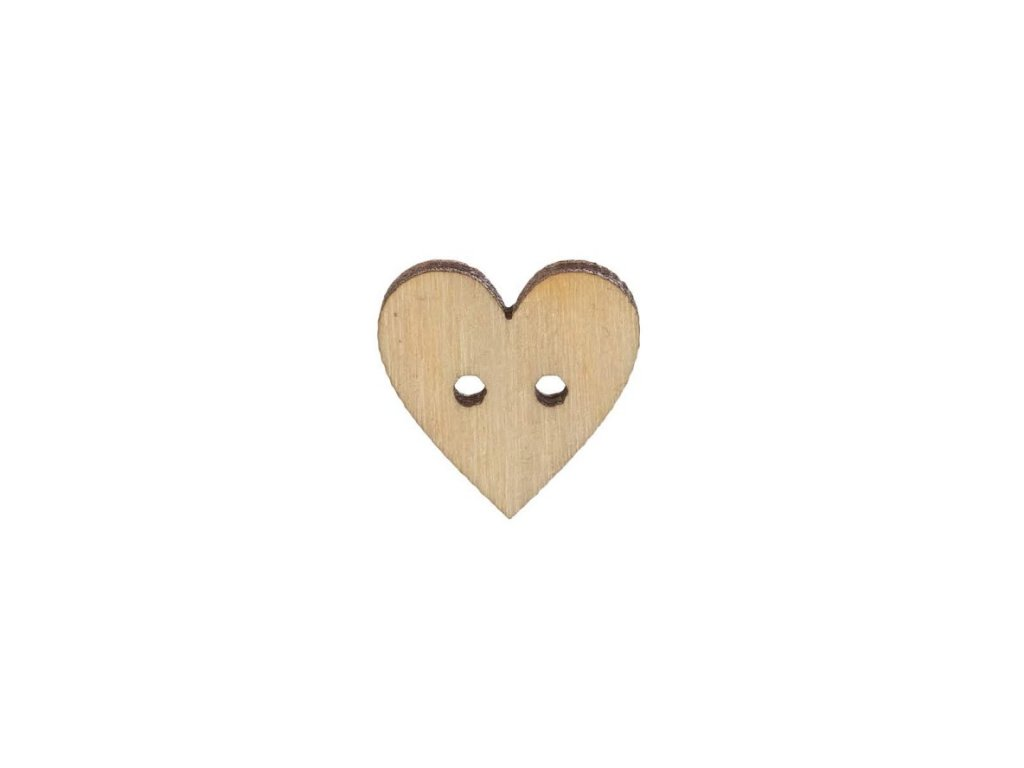 Drevený gombík srdce malé 1,5 cm
