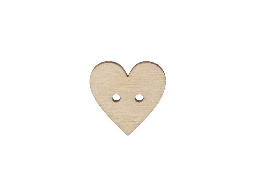 Drevený gombík srdce veľké 2,5 cm