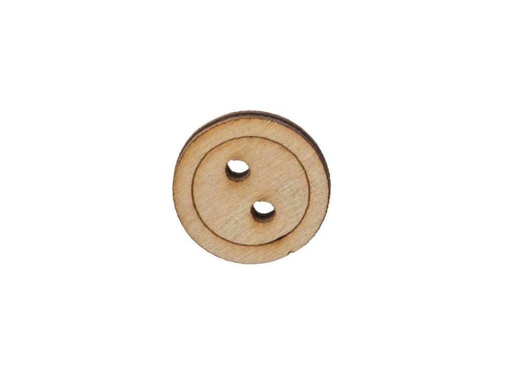 Drevený guľatý gombík s dvoma dierkami