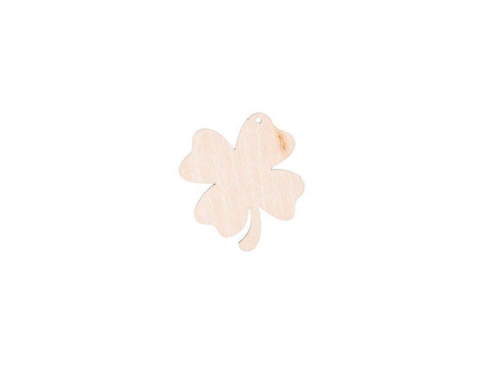 Drevený štvorlístok 6,5 x 6 cm