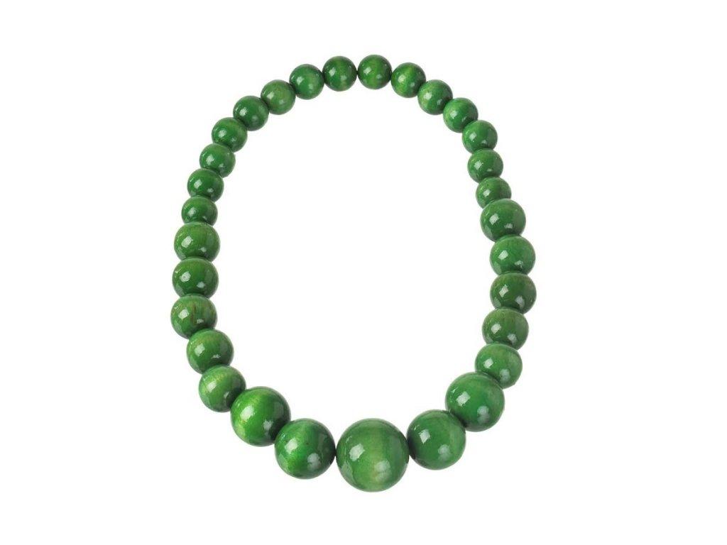 Drevený náhrdelník - zelený