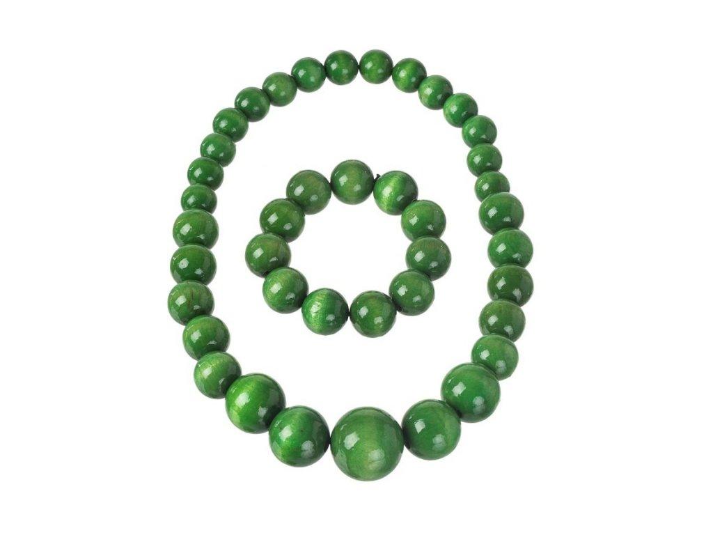 Zelený náhrdelník s náramkom