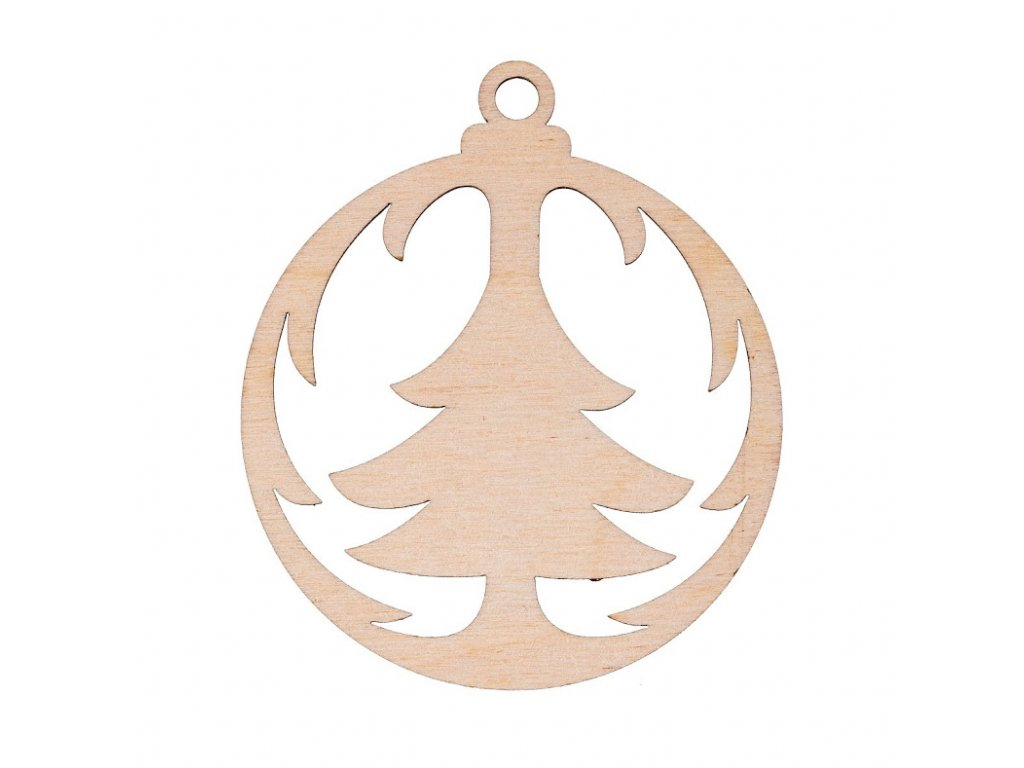 Drevená vianočná výzdoba - banka sa stromčekom
