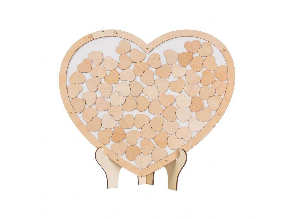 Drevená kniha hostí - srdce
