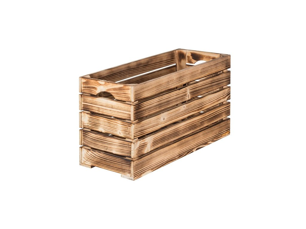 Opálená drevená debnička 60 x 22 x 30 cm