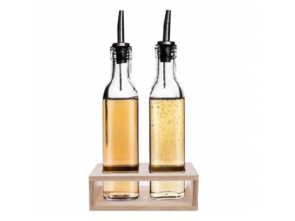 Sklenené fľaše na ocot/olej v stojane