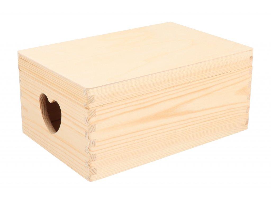 Drevený box s viekom a srdiečkami