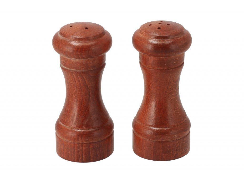 Drevená soľnička a korenička - 10 cm tmavé