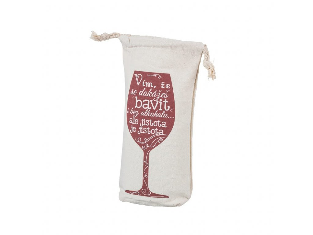 Bavlnená taška na fľašku istota je istota