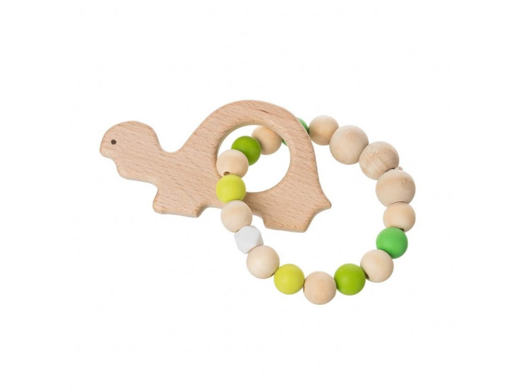 Drevené guľaté hryzadlo zelené - korytnačka