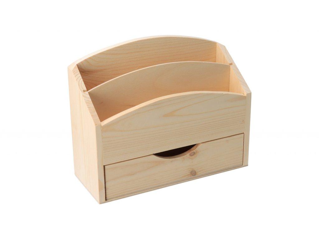 Drevený stojan na listy so zásuvkou