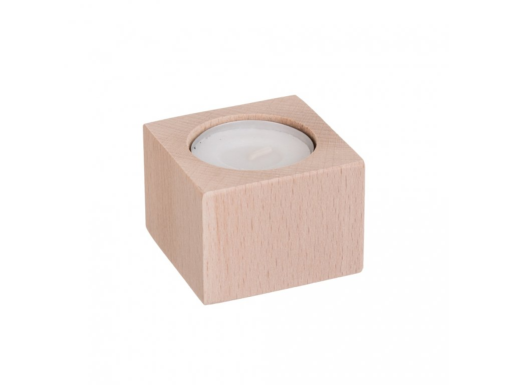 Svietnik drevený pre 1 sviečku - hranatý