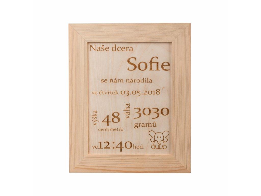 Drevený rámček s údajmi novorodenca na mieru