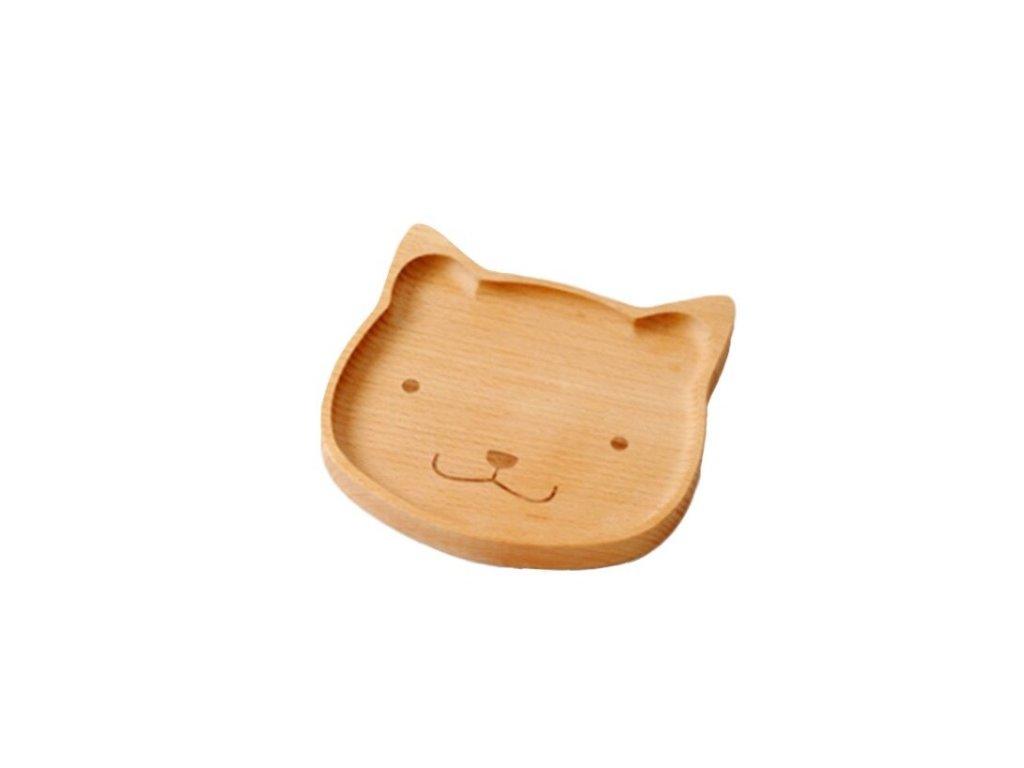 Drevený tanierik - mačička