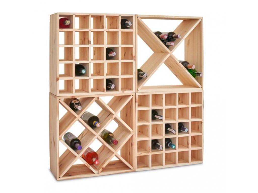 Drevený regál na víno kríž 52 x 52 x 25 cm - 1 ks