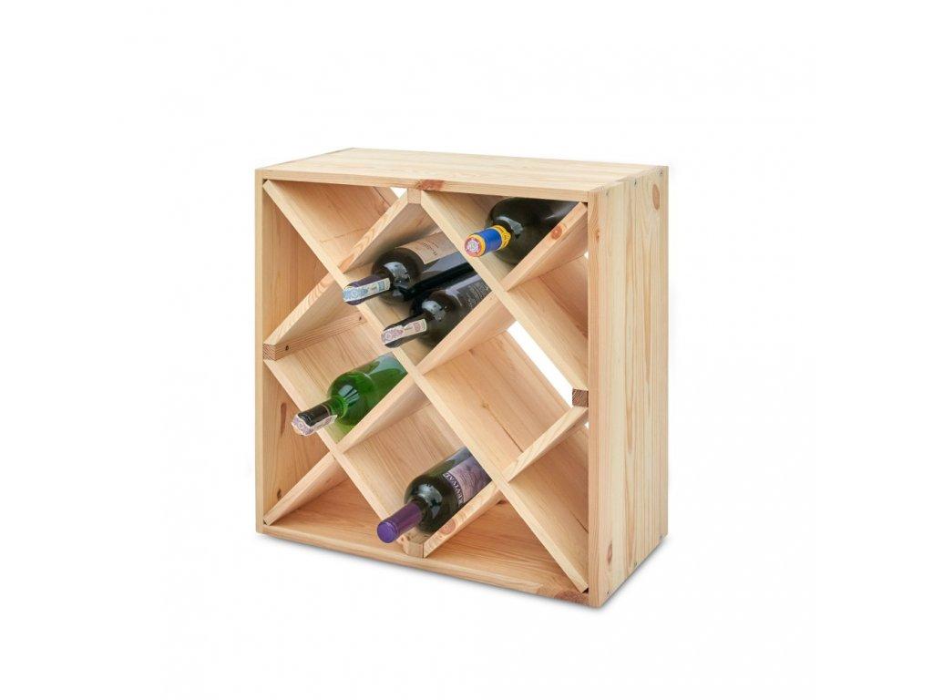Drevený regál na víno  52 x 52 x 25 cm - 1 ks