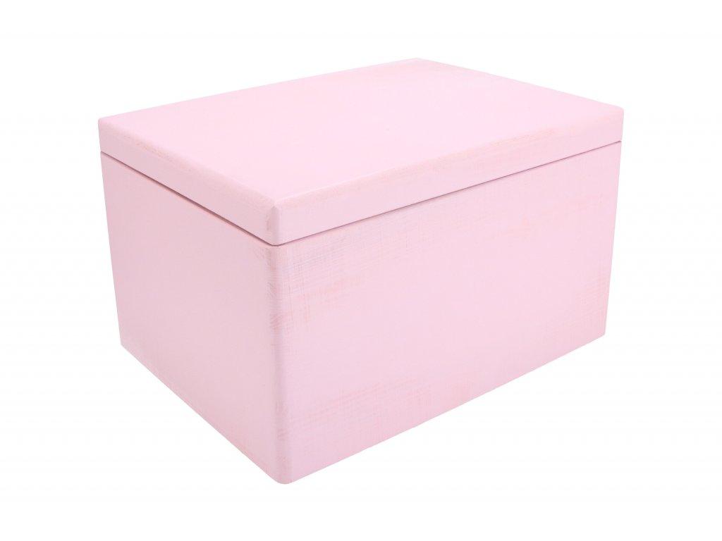 Drevený box s viekom 40x30x23 cm - ružový