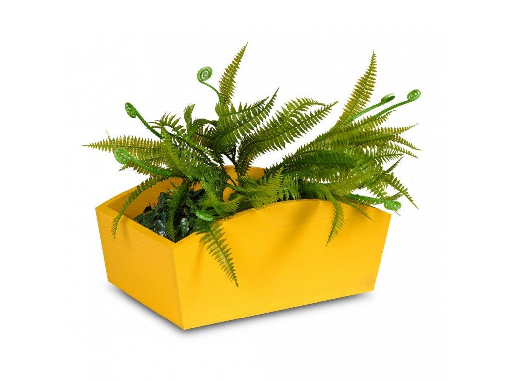 Drevený truhlík 24x13x10,5 cm - žltý