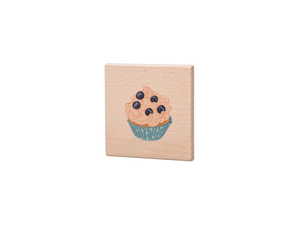 Drevený podtácok - Modrý muffin