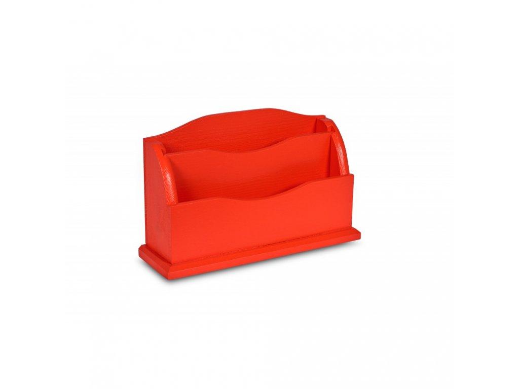 Drevený organizér 27x8x16,5 cm - červený