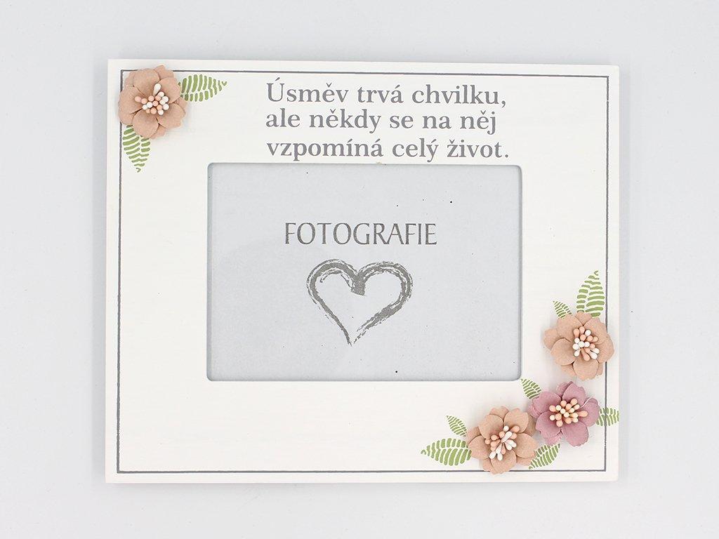 Drevený ozdobný fotorámček s nadpisom - Úsmev