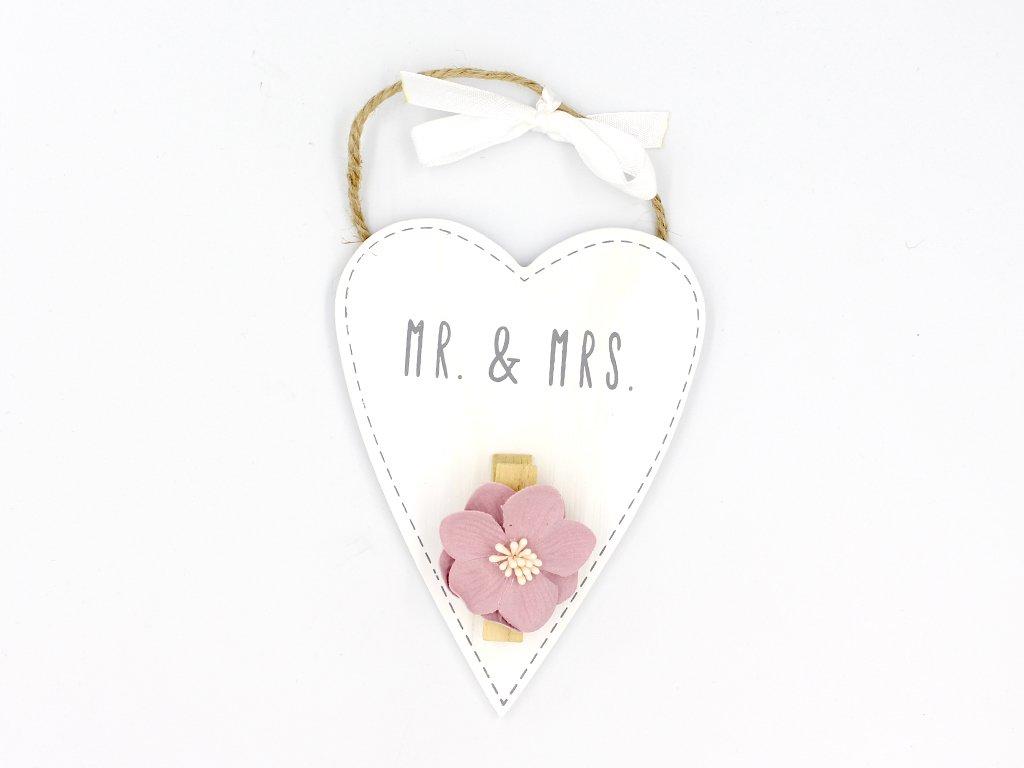 Drevené srdiečko tmavé - MR&MRS