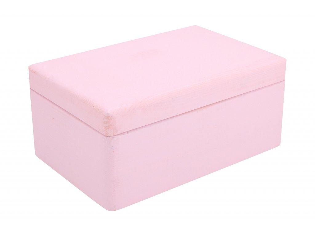 Drevený box bez úchytov 30cm x 20cm x 13,5 cm - svetlo ružový