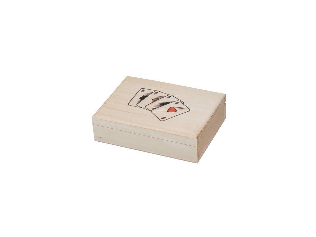 Drevená krabička na karty s potlačou